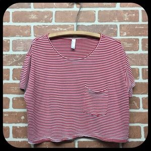 AMERICAN APPAREL STRIPED CROP TOP